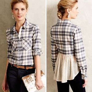 Holding Horses Blue Gray Plaid Flannel Button Down